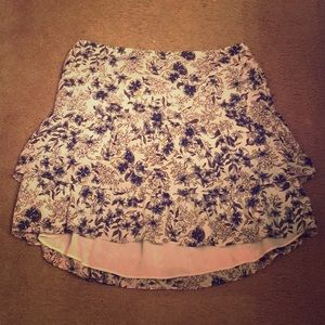 LOFT floral tiered skirt